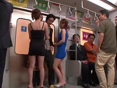 Guy Gets Stripped And Sucked Off On A Train By Yuna Shiina And Erina