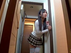 Horny Japanese slut gives a blowjob in the bathroom