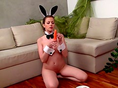 Carrot masturbation for girl in bunny costume