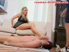 Russian girls in dresses trample him roughly