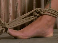 Bound sub gets rope tied up by her bdsm master