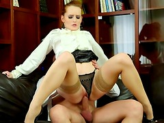 Flawless redhead in satin blouse fucked