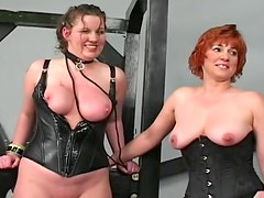 Leather and latex bitches on leashes