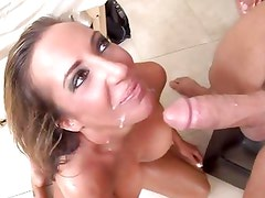Richelle Ryan gets her face plastered with thick cum