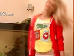 Cute 18yo blonde teases and gives
