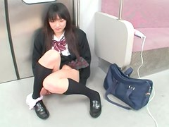 Nanami Honda the hot Schoolgirl gets Fucked With A Vibrator On A Train