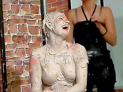 Mud covered satin chicks play
