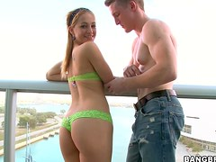 Cuban blonde girl loves to tug and give blowjobs