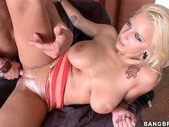 Huge tits Blonde Lylith Creams Her Pie