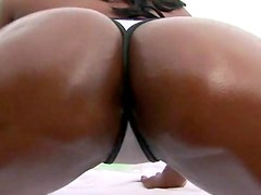 Big cock cums on the ass of black slut