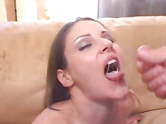 Samantha Ryan gets her face drenched with thick cum