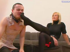 He is made to crossdress and take her abuse