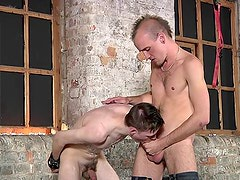 Bound gay bottom likes to suffer pain