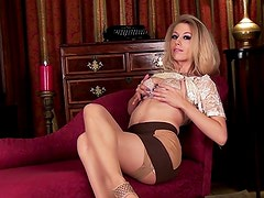 In lace and stockings Michelle Moist fondles