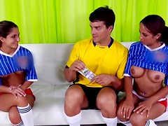 Soccer player fucks two Latina hotties