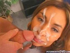 Dia Diva satisfies Peter North with a blowjob and gets a facial cumshot