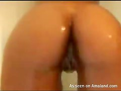 Bubble butt whore taking a nice and warm shower