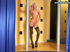 Skinny teen does a dirty dance in stockings