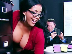 Office slut Kiara Mia doggystyle sex