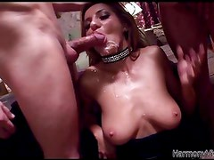 Horny slut gets her holes fucked hard in a 3some