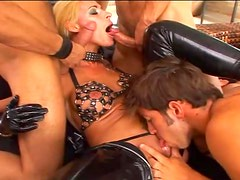 Horny girls get fucked hard by two guys at once