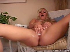 Blonde Cutie Takes A Facial From Big Dick.