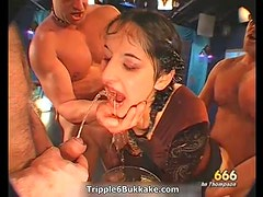 Dirty slut gets her face and body pissed hard