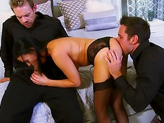 Vanilla Deville threesome in sexy stockings