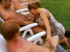 Tripple penetration over sexy blond babe in the back yard