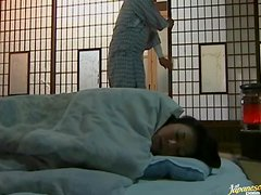 Japanese wife gets fucked from behind and in missionary position