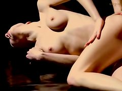 Lotion massage relaxes slender girl