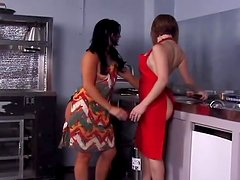 Two adorable lesbians fucking in the restaurant kitchen