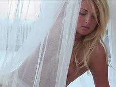 Angelic Blonde Girl Netty Maj Looking Sexy Naked on the Bed