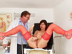 Red stockings on girl seeing gynecologist