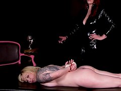 Tattooed and tied blonde is kinky slut