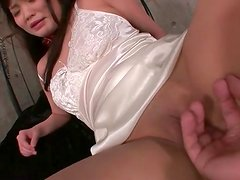 In satin lingerie this pretty girl is fingered
