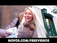 Platinum blonde Czech girl is picked up in the street