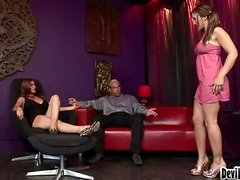 Two hot chicks Lux May and Shiela Marie make this guy happy