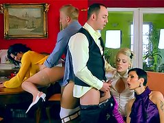 Babes in blouses make group sex video