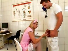 Naughty nurse gets a length