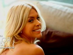 Talor Paige the sweet blonde chick teasing on camera in the bedroom