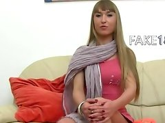 Ukraine babe licking and suck on sofa