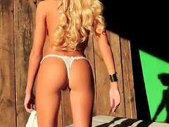 Gorgeous blond hottie Kristin Nicole  shows her pussy