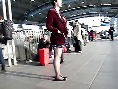 Following hot girl in Red Jacket & Short Skirt