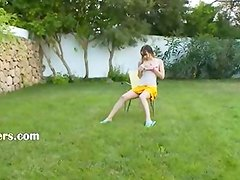 Ivana teen getting wet on the public