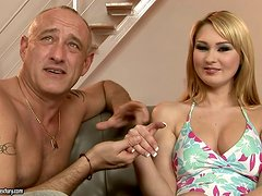 Pussy expert Bruno plays with blond's pussy