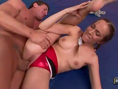 Flexible pigtailed contortionist enjoys getting ravaged