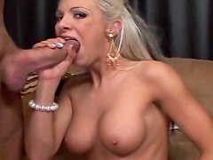 Blonde with big boobs is a cocksucker