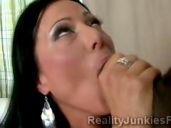 Big stacked MILF makes husband watch her devouring huge black dong