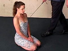 Sweet girl in a dress submits to him